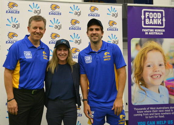 Agl and west coast eagles take on hunger with metres for meals